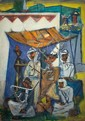 Marcel Janco 1895-1984 (Israeli) Cafe variation oil on cardboard mounted on canvas