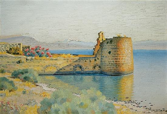 Shmuel Charuvi 1897-1965 (Israeli) Tiberias, 1920's oil on canvas
