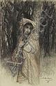 Ernest HEBERT (La Tronche 1817- 1908) L italienne Craie noire, sanguine et rehauts de craie bleue 31,5 x 20,5 cm Signé et dédicac en...