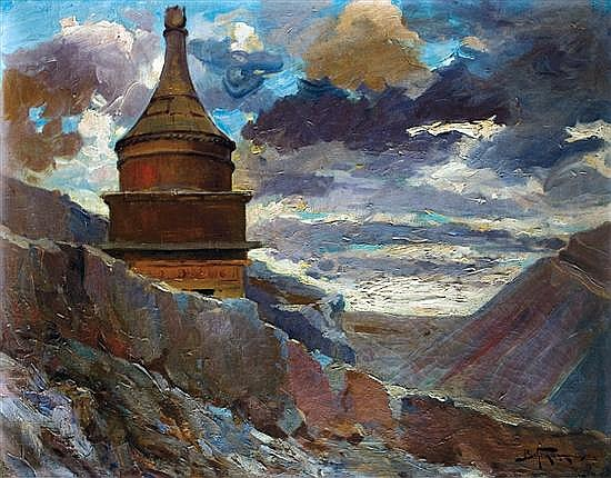Adolph Behrman 1876-1942 (Polish) Avshalom's tomb, 1925 oil on canvas