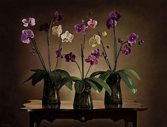 Albert Benaroya b.1963 (Israeli) Still life with orchids oil on canvas