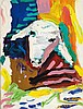 Menashe Kadishman b.1932 (Israeli) Sheep head, 1980 acrylic on canvas
