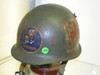 SEABEE'S MEDICAL VIETNAM ERA HELMET WITH 2 BULLET HOLES