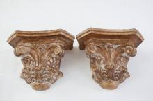 Pair Carved Architectural Wall Brackets