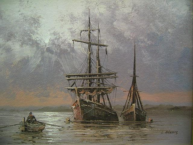 C Alexis Ships at Anchor oil on board, signed 31cm