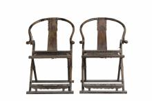 A PAIR OF WOODEN HORSESHOE BACKED CHAIRS