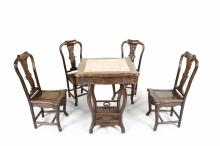 A SET OF FIVE ROSEWOOD CHAIRS AND TABLE WITH MARBLE INSET