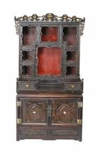 A HUANGHUALI WOOD CARVED ALTAR CABINET FOR BUDDHA STATUES