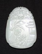 Chinese White Jade Carved Pendant Two Boys