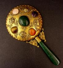 Asian Brass Mirror W/ Jade Handle