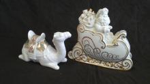 Vintage Lenox Santa Claus & Camel Ivory Porcelain Figures