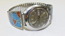 Seiko EL-370 electronic sterling silver men's watch with Beautiful tribal band design