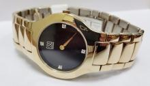 ESQ large size men's gold tone diamond watch