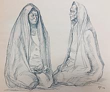 Francisco Zuniga Drawing 1976 Mexico  Charcoal and Pastel Drawing on Paper artist signed and dated 17