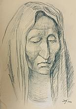 Francisco Zuniga Drawing 1976 Mexico  Charcoal and Pastel Drawing on Board artist signed and dated 12