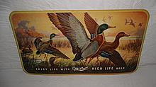 1940'S MILLER HIGH LIFE BEER MALLARD DUCK SIGN
