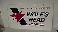 NOS WOLFS HEAD MOTOR OIL SIGN