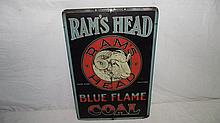 RAMS HEAD BLUE FLAME COAL SIGN