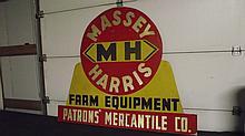 MASSEY HARRIS FARM EQUIPMENT SIGN, PATRONS MERCANTILE CO (BLACK EARTH WI) SIGN