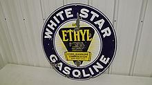 PORCELAIN WHITE STAR ETHYL GASOLINE SIGN