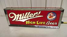 REVERSE LIGHTED NEON MILLER HIGH LIFE BEER SIGN