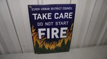 PORCELAIN ESHER FIRE DISTRICT COUNCIL SIGN