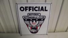 1920'S PORCELAIN OFFICIAL NATIONAL AUTOMOBILE CLUB SIGN
