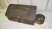 ANTIQUE CAST IRON STEAM ENGINE TOOL BOX