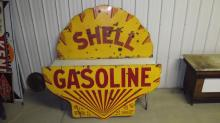 LARGE 2 PIECE PORCELAIN SHELL GASOLINE SIGN