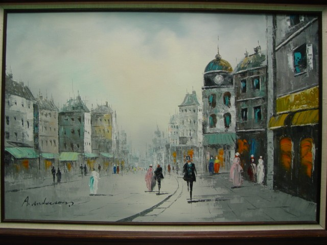 3 Street Scene Oil Paintings