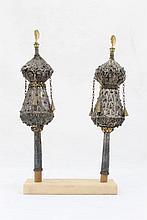 A pair of Torah finials, silver, North Africa
