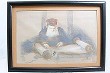 Drawing pastel on paper.Rabbi learning. Unidentified artist. Signed and framed