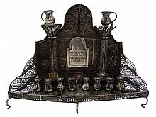 Silver menorah with work Philgrn and tin work , Zhitomir 1857