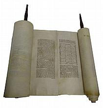 Ancient Torah scroll, an ancient Ashkenazi writing, with multi-labeling and modified and curled letters, including rare instances of these letters. [Years Heather, Century -17/18].