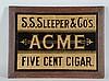 Acme 5 Cent Cigar Tin Sign.