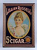 Lillian Russell Embossed Tin Advertising Sign.