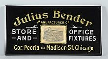 Julius Bender Reverse Glass Sign.