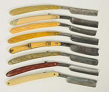 Lot of 8: Molded Celluloid Straight Razors.