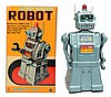 Tin Litho & Painted Battery Op. Robot.