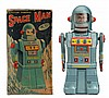Tin Litho Crank Wind Space Man Robot.