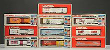 Lot of 10: Lionel MPC Advertising Box Cars.