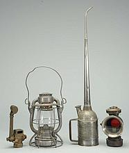 4 Pc. 2 Lanterns & Oil Can and Part for a Train.