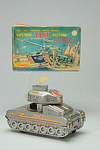 Tin Litho Battery-Operated Explorer Tank.