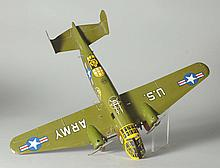 Tin Marx Wind-Up Military Airplane With Box.