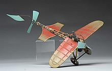 Tin Litho Fisher Flapping Wing Airplane Toy.
