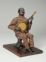 Early Secore Clockwork African American Banjo Toy