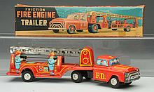 Tin litho Friction Fire Engine Ladder Truck.