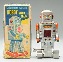 Tin S.Y. Wind-Up Mechanical Robot With Spark.