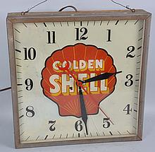 Golden Shell Glass Clock.