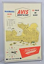 Avis Rent-a-Car Light Clock & Sign.